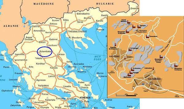 les Météores   localisation en Grèce